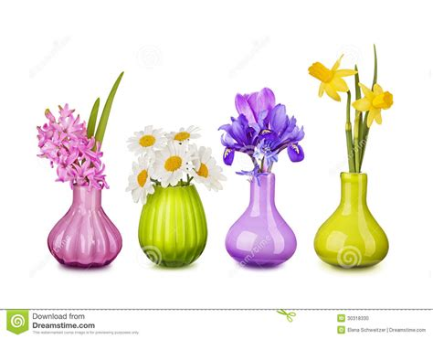 Spring Flowers In Vases Stock Photo. Image Of Lilac, Green