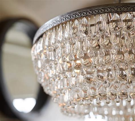 Clarissa Crystal Drop Round Chandelier   Pottery Barn