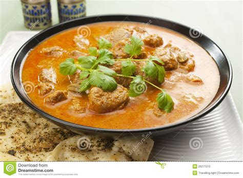 curry cuisine indian meal food curry rogan josh naan bread stock