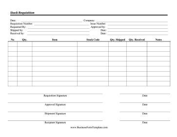 stock requisition form  order products