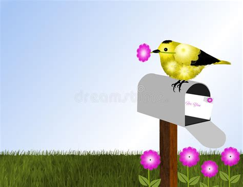 goldfinch  open mailbox stock illustration image