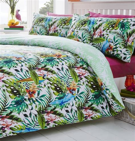 Tropical Island Jungle Leaves Themed Duvet Cover Bedding