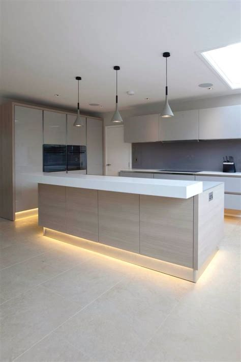 Contemporary Kitchens With Attention To Detail by The Lighting Detail And Breakfast Bar Shelve