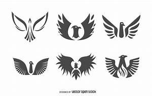 Flat phoenix bird logo set - Vector download