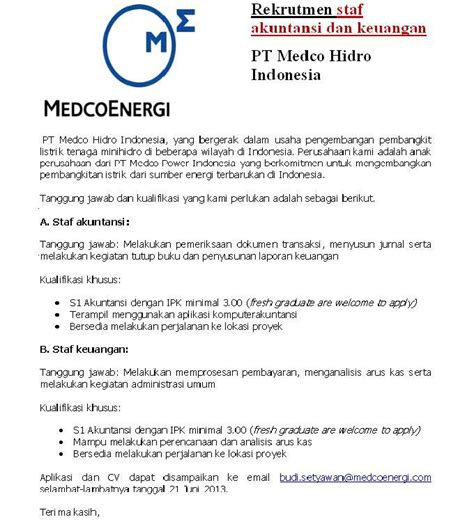 medco energi info lowongan kerja