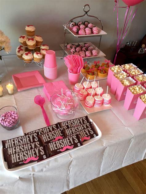 girls side   snack table gender reveal boy  girl