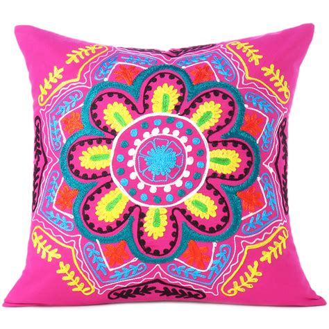 Colorful Sofa Pillows pink yellow embroidered colorful decorative sofa throw