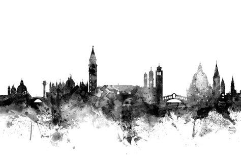Black And White Framed Artwork by Venice Italy Skyline Digital Art By Michael Tompsett