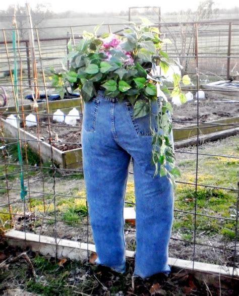 blue jean planter recycle jeans planters  jeans