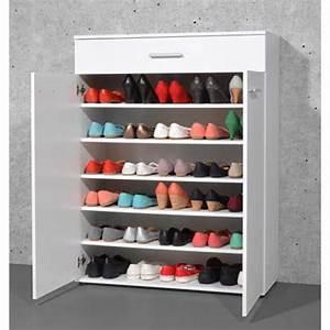 Meuble à Chaussures Original : armoire meuble chaussures blanc avec 2 portes et 1 tiroir dim l 89 x h 120 x p 37 cm ~ Teatrodelosmanantiales.com Idées de Décoration