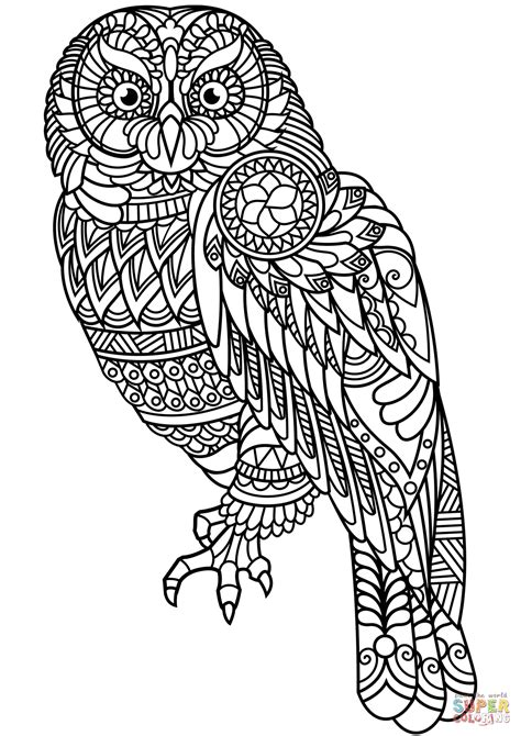 Owl Zentangle coloring page from Zentangle category