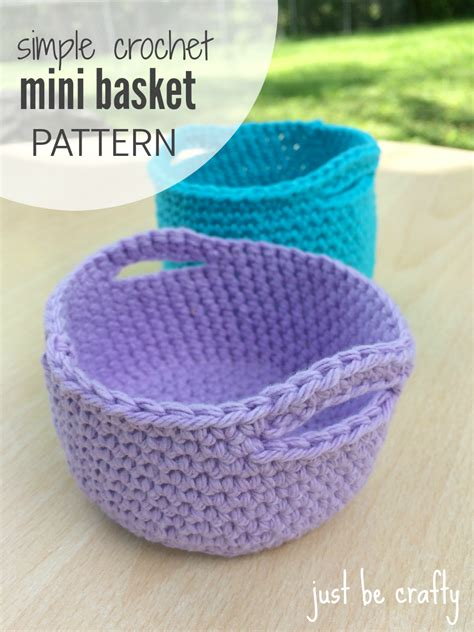Simple Crochet Mini Basket Pattern - Free Pattern by Just