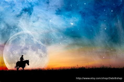 horse rider starry night fantasy full moon orion nebula