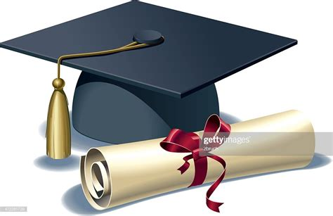 mortar board and diploma vector art getty images