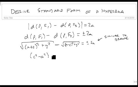 Derive The Standard Form Of A Hyperbola Youtube