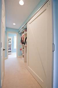 barn style closet doors hall traditional with barn door With barn door look closet doors