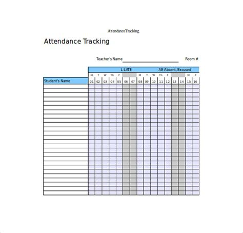 Time And Attendance Tracking Template by Attendance Tracking Template 10 Free Word Excel Pdf