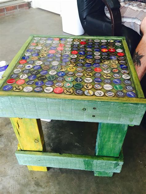 beer cap table epoxy beer cap table with epoxy top pallet ideas pinterest