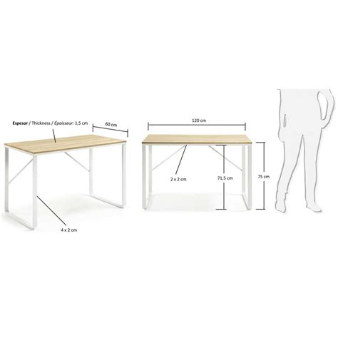 plateau bureau bois bureau design structure en métal blanc et plateau en bois