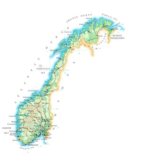 norway large detailed physical map  norway  roads