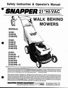 Snapper Lawn Mower 21401p User U0026 39 S Guide