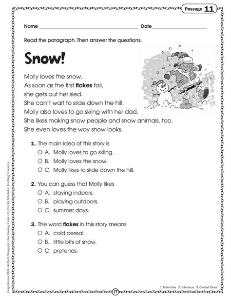free printable common reading worksheets story