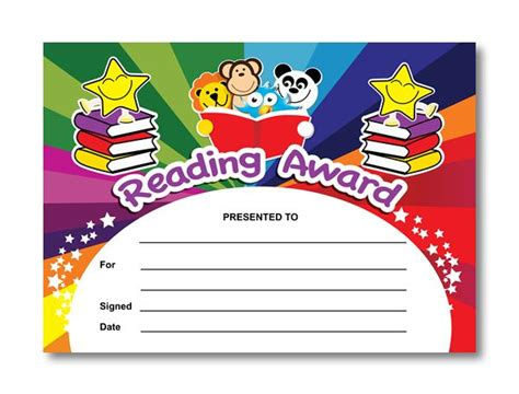certificate reading award rainbow readers