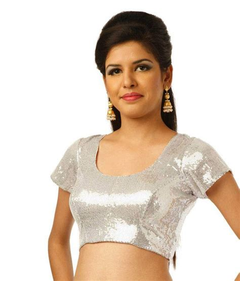 silver blouse 9rasa silver sleeves georgette stitched saree blouse