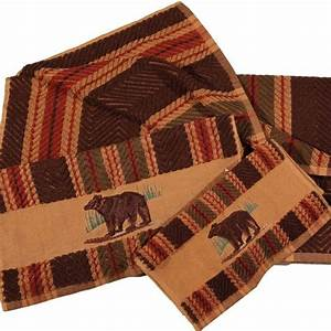 Embroidered bear striped towel set cabin for Cabin bathroom rugs