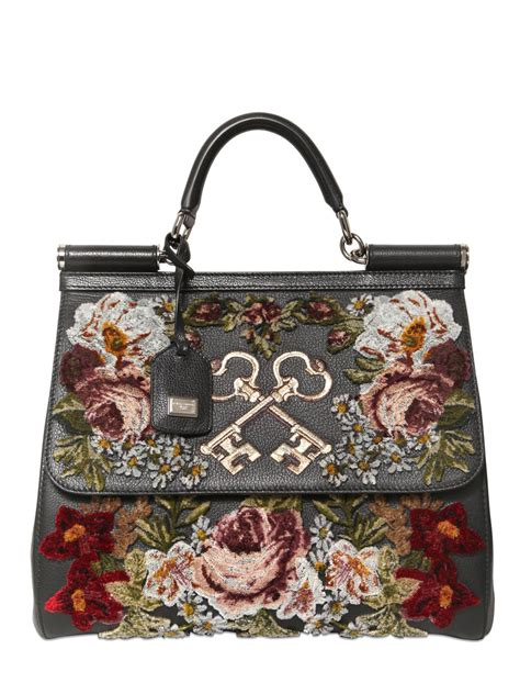 lyst dolce gabbana sicily embroidered velvet  leather bag  black