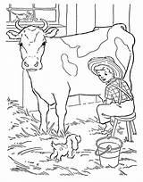 Coloring Cow Pages Farmer Dog Milking Cows Boy Bark Puppy Job Play sketch template