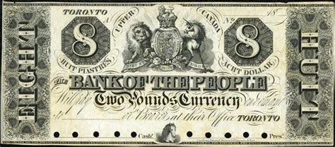 Fileeight Dollar Currency Note Issued By Torontos Bank