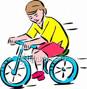 Boy Riding Bike Black and White Clipart