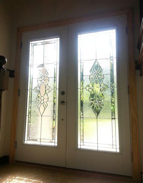 smooth fiberglass doors with decorative glass