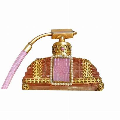 Perfume Atomizer Czechoslovakian Pink Jeweled Bottles Antique