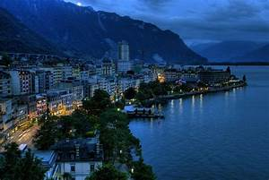 Montreux, Switzerland, Europe, City at night overview