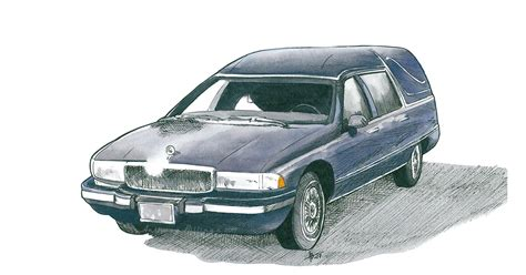 Anthony Buick by Anthony Billings Buick Hearse Watercolor Ink