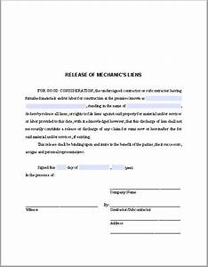 release of mechanics liens certificate template free With construction lien letter