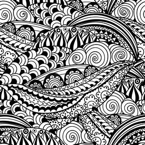 Hand-drawn Black And White Seamless Pattern With Abstract ...