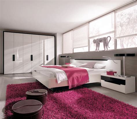 modern bedroom interior design with pink white color ideas