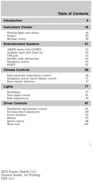 ford  fusion hybrid operators owners user guide manual