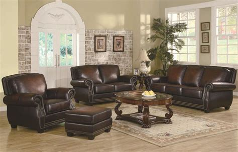 Furniture Leather Sofa Set by Leather Trimmed Sofa Traditional Rich Brown Leather