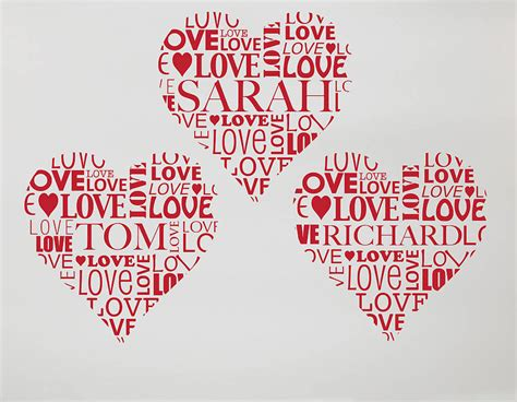 personalised love heart vinyl wall sticker contemporary
