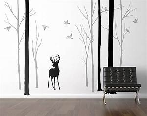 deer in the forest black grey wall sticker by zazous With black wall decals