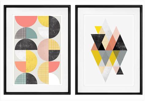 bureau design blanc où trouver des affiches géométriques style scandinave