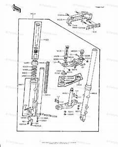 Kawasaki Motorcycle 1981 Oem Parts Diagram For Front Fork