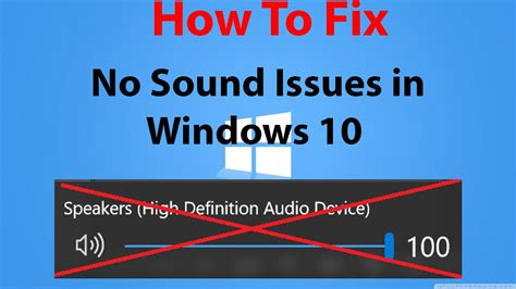 Windows 10  How To Fix No Sound Issues  Youtube