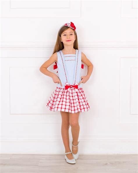 Outfit Vestido Marinero Cuadros Rojo u0026 Celeste | Missbaby