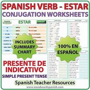 Estar Spanish Verb Conjugation Worksheets Present