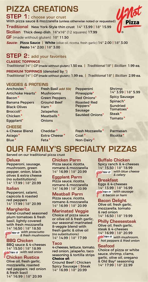 full italian restaurant pizza menu ynot pizza italian